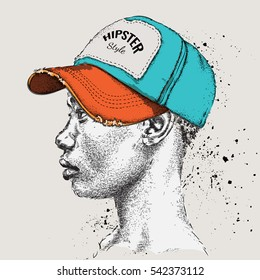 African American man in Hand drawn baseball cap. Profile view. Hand draw  vector illustration e0b202f5235d
