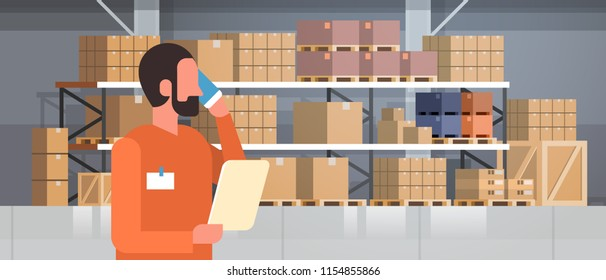 african american man loader phone calling pallet warehouse interior background rack box international delivery concept flat portrait horizontal vector illustration