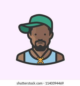 African American man in sideways baseball cap with skull necklace