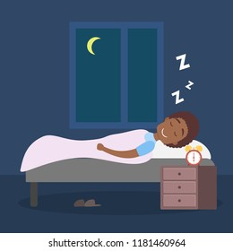 African american man sleeping at night in his bed. Lying in comfort on the pillow under blanket. Flat vector illustration
