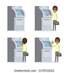 African american man using ATM machine. Guy insert credit card, dialing pin code and withdraw pile of money. Happy bank customer. Flat vector illustration