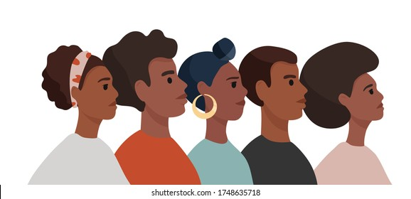 African American men and woman in colorful  t-shirts stand one by one. Tolerance and no racism concept. Protest Banner about Human Right of Black People. Cartoon vector illustration.