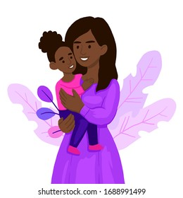 african american mom hugging her child girl. Mother embracing little daughter and expressing love and care. Lovely cartoon characters isolated on white background.