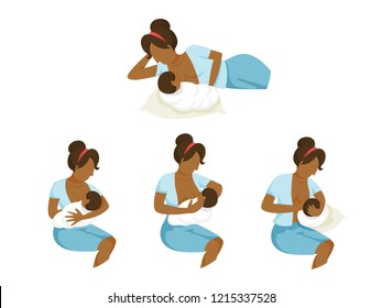 African american mother breastfeeding her newborn baby set. Idea of child care and motherhood. Feed child with breast. Isolated flat vector illustration
