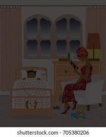 African American mother reading a bedtime story to her daughter