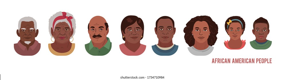 African American People Head Avatar Set. Different Characters. Man Woman and Children Portrait Cartoon Illustration. Children Adult and Older people Faces. Vector Illustration