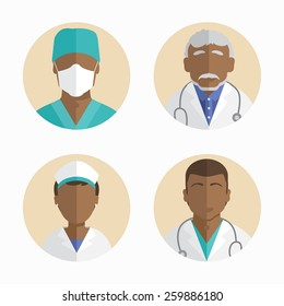 African American people icons collection of flat design. doctor and nurse