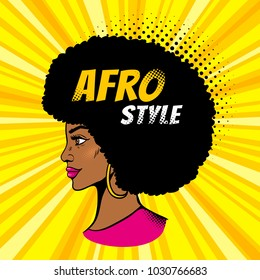 African american pop art female face. Sexy young black woman profile with afro hairstyle in big earrings. Vector colorful illustration in pop art retro comic style on halftone background. Invitation.