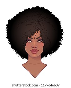 African American pretty girl isolated on white. Female portrait. Black beauty concept. Vector Illustration of Black Woman. Great for avatars. Fashion, beauty.