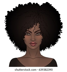 African American pretty girl. Vector Illustration of Black Woman with afro hairstyle  and neck . Great for avatars.