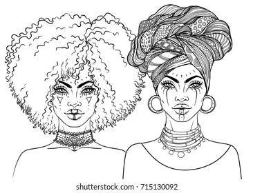 African American pretty girl. Vector Illustration of Black Woman with afro hairstyle and turban. Great for avatars. Illustration isolated on white. Coloring book for adults.
