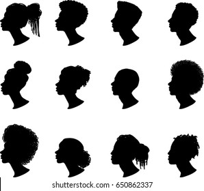 African American Profile Silhouettes, Vector Illustrations
