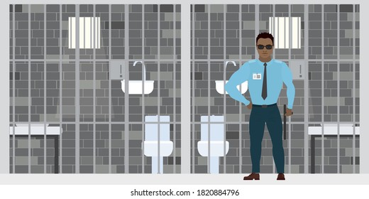 African american security guard near empty prison cell.  Cartoon policeman in uniform. Jail cell staff, prison interior with furniture. Penitentiary system banner. Flat vector illustration