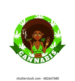 African american sexy Smoking lady. Cannabis. Medical logo with woman.  The marijuana leafs on the background, vector image.
