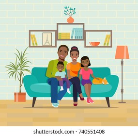 African american smiling young parents and their children on sofa in the living room. Vector flat style  illustration