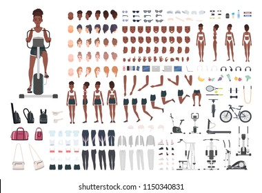 African American sportswoman or female athlete DIY or animation kit. Set of slim girl's body parts, sports apparel, gym exercise machines isolated on white background. Cartoon vector illustration.