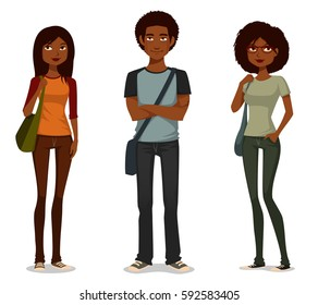 African American students in casual clothes