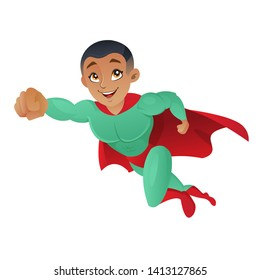 African american superhero man flying in the air isolated