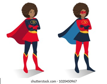 African American superhero woman with afro hair standing with crossed arms. Vector cartoon character illustration in flat contemporary style isolated on white background. Women activism concept