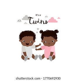 African american twin babies. Brother and sister.  Boy and girl. Cute vector cartoon illustration. It's a twins.