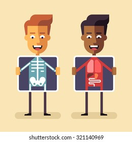 African american and white men with x-ray screen showing their internal organs and skeleton. Mobile health, diagnosis and monitoring using mobile digital devices. MHealth vector flat illustration.