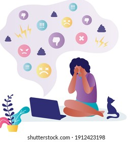African american woman is bullied on social media. Female character being abused online. Concept of cyber bullying and violence in internet. Girl crying in front of laptop screen. Vector illustration