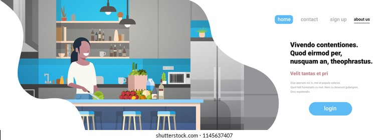 african american woman cook kitchen interior girl chopping vegetables cooking at home faceless smile character horizontal banner flat copy space vector illustration