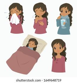 African American woman with flu sickness, cartoon character. Flu season vector set