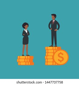 African american woman and man standing on piles of coins, businessman have more than businesswoman. Concept of gender inequality, wage gap, unfair law, woman's rights at work, feminism. Flat vector.