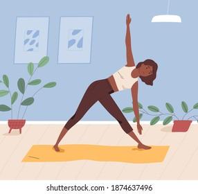 African american woman practising yoga at home. Female character doing asana or stretching indoors. Black yogini performing parivritta trikonasana on mat. Vector illustration in flat cartoon style