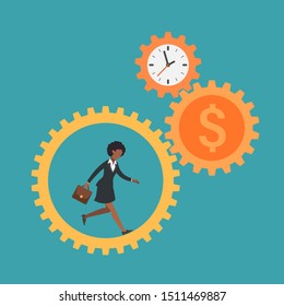 African american woman running inside gears of time and money. Hardworking lifestyle concept. Working girl at job. Female employee and her stress of hard challenge. Flat vector business illustration.