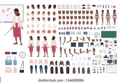 African American woman school teacher or teaching professor DIY or constructor kit. Bundle of female character body elements, poses, clothing isolated on white background. Cartoon vector illustration