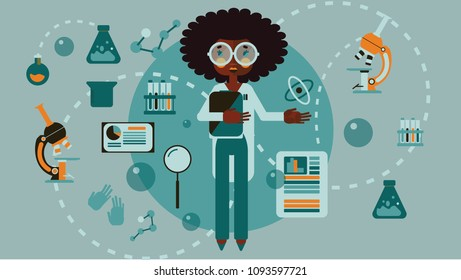 African american woman scientist in flat cartoon vector style infographic chemistry tools