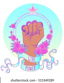 African American Woman's hand with brass knuckles. Fist raised up. Girl Power. Feminism concept. Realistic style vector illustration in pastel goth colors isolated on white. Sticker, patch design.