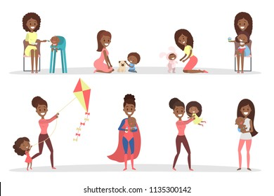 African american women playing with their children. Loving mother spend time together with her kid. Isolated flat vector illustration