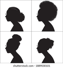 African American, Women Profile Silhouettes, Wearing Glasses, Vector Illustration
