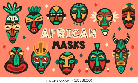 African ancient masks. Tribe ethnic mask, ritual totem religion face masks, aztec, african and hawaiian aboriginal masks vector illustration set. Traditional tribal rituals with colorful face