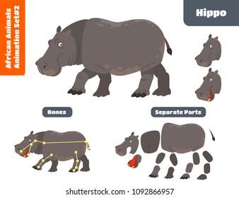 African Animal Hippo For Animation Set. Cartoon Style Vector Illustration