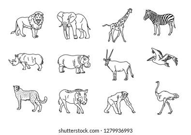 African animal icon set bw