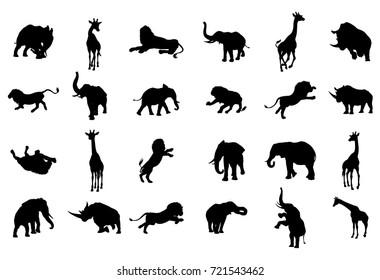 An African animal safari silhouette set including elephants, giraffes, rhinos and lions
