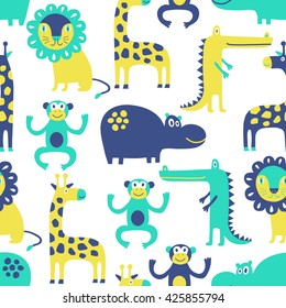 African animal seamless pattern. Background with monkey, lion, hippo, giraffe, crocodile. Surface decoration.