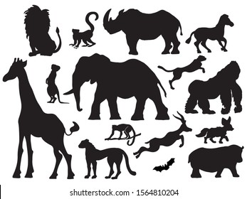 African animal set - black vector silhouette.  Collection of various mammals of Africa.
