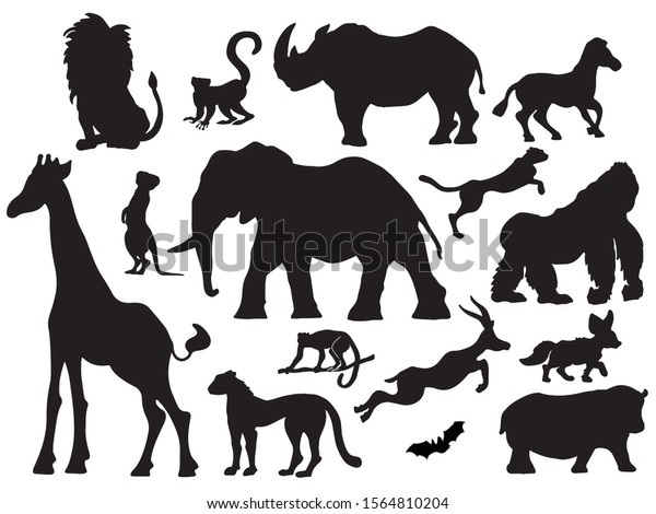 African Animal Set Black Vector Silhouette Stock Vector Royalty Free 1564810204