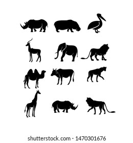 African animal set silhouette black logo icon design vector illustration