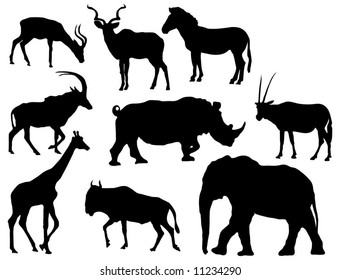 African animal silhouettes (Herbivores, elephant, giraffe, various antelope, rhinoceros and zebra)