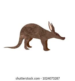 African animal wildlife vector illustration of Aardvark cute cartoon character isolated on white background.