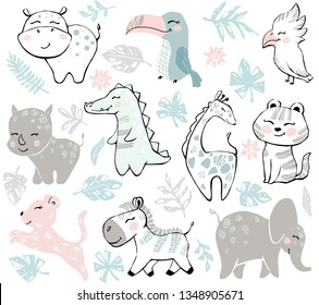 African animals baby cute set. Sweet crocodile, leopard, giraffe, tiger, elephant, zebra, rhinoceros, hippopotamus, toucan, cockatoo. Cool illustration for nursery t-shirt, kids and baby apparel