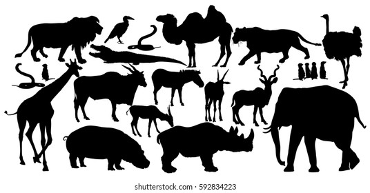 9eac11361d820 African animals big group vector silhouette illustration. lion, elephant,  lioness, rhino,