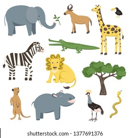 African animals, birds and plant set. Vector Illustration Collection.