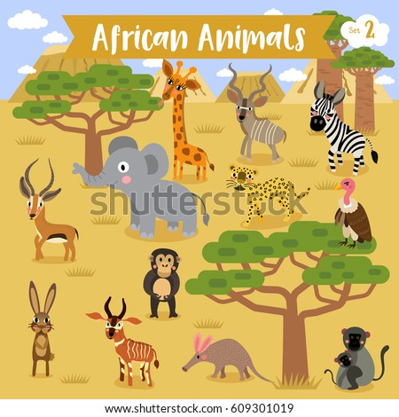 African Animals Cartoon Africa Landscape Background Stock Vector